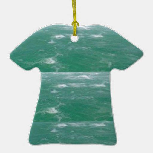 Deep Sea Green :  Wave Pattern Christmas Ornament