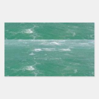 Deep Sea Green :  Wave Pattern Rectangular Sticker
