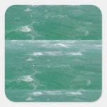 Deep Sea Green :  Wave Pattern Square Sticker