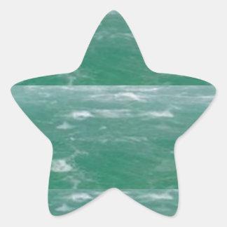 Deep Sea Green :  Wave Pattern Star Sticker
