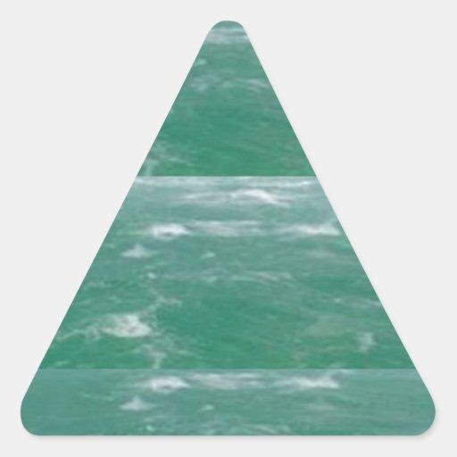 Deep Sea Green :  Wave Pattern Triangle Sticker