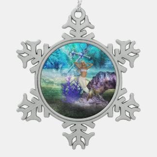 Deep Sea Mermaid Snowflake Pewter Christmas Ornament