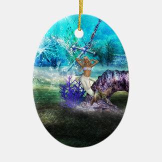 Deep Sea Mermaid Double-Sided Oval Ceramic Christmas Ornament