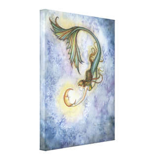 Deep Sea Moon Mermaid Wrapped Canvas Print