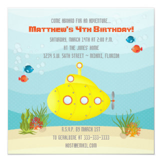 Deep Sea Yellow Submarine Card