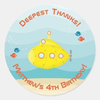 Deep Sea Yellow Submarine Classic Round Sticker