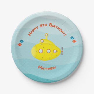 Deep Sea Yellow Submarine Paper Plate