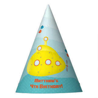 Deep Sea Yellow Submarine Party Hat