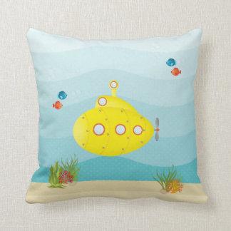 Deep Sea Yellow Submarine Throw Pillow