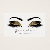 Deep Sepia Glitter Makeup Artist Lash Black White Business Card