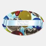 Deep Sky Balloons Customizable Oval Stickers