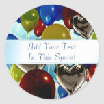 Deep Sky Balloons Customizable Round Stickers