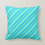 [ Thumbnail: Deep Sky Blue and Aquamarine Colored Pattern Throw Pillow ]