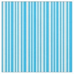 [ Thumbnail: Deep Sky Blue and Beige Colored Lines Fabric ]