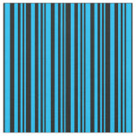 [ Thumbnail: Deep Sky Blue and Black Colored Lines Pattern Fabric ]