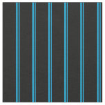 [ Thumbnail: Deep Sky Blue and Black Striped/Lined Pattern Fabric ]