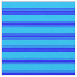 [ Thumbnail: Deep Sky Blue and Blue Colored Pattern Fabric ]