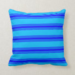 [ Thumbnail: Deep Sky Blue and Blue Colored Pattern Pillow ]