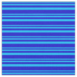 [ Thumbnail: Deep Sky Blue and Blue Lines Pattern Fabric ]