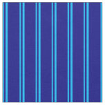 [ Thumbnail: Deep Sky Blue and Blue Striped/Lined Pattern Fabric ]