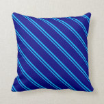 [ Thumbnail: Deep Sky Blue and Blue Striped/Lined Pattern Throw Pillow ]