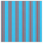 [ Thumbnail: Deep Sky Blue and Brown Lined/Striped Pattern Fabric ]