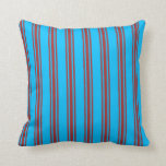 [ Thumbnail: Deep Sky Blue and Brown Lined/Striped Pattern Throw Pillow ]