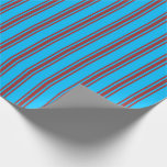 [ Thumbnail: Deep Sky Blue and Brown Lined/Striped Pattern Wrapping Paper ]