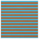[ Thumbnail: Deep Sky Blue and Brown Lines/Stripes Pattern Fabric ]