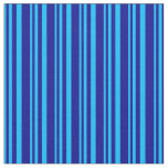 [ Thumbnail: Deep Sky Blue and Dark Blue Colored Lines Fabric ]