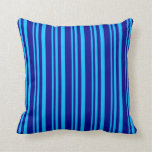 [ Thumbnail: Deep Sky Blue and Dark Blue Colored Lines Pillow ]