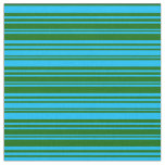 [ Thumbnail: Deep Sky Blue and Dark Green Colored Lines Fabric ]