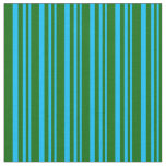 [ Thumbnail: Deep Sky Blue and Dark Green Colored Stripes Fabric ]