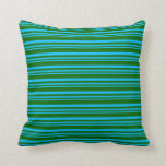 [ Thumbnail: Deep Sky Blue and Dark Green Colored Stripes Throw Pillow ]