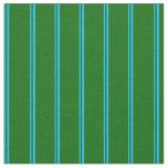 [ Thumbnail: Deep Sky Blue and Dark Green Pattern Fabric ]