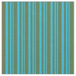 [ Thumbnail: Deep Sky Blue and Dark Olive Green Colored Lines Fabric ]