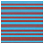 [ Thumbnail: Deep Sky Blue and Dark Red Stripes Pattern Fabric ]