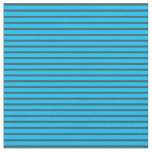 [ Thumbnail: Deep Sky Blue and Dark Slate Gray Colored Stripes Fabric ]