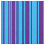 [ Thumbnail: Deep Sky Blue and Indigo Lines Fabric ]