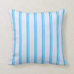 [ Thumbnail: Deep Sky Blue and Lavender Colored Lines Pillow ]