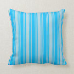 [ Thumbnail: Deep Sky Blue and Light Blue Colored Stripes Throw Pillow ]