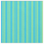 [ Thumbnail: Deep Sky Blue and Light Green Colored Pattern Fabric ]