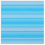 [ Thumbnail: Deep Sky Blue and Light Sky Blue Colored Stripes Fabric ]