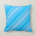 [ Thumbnail: Deep Sky Blue and Light Sky Blue Colored Stripes Throw Pillow ]