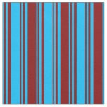 [ Thumbnail: Deep Sky Blue and Maroon Colored Stripes Fabric ]