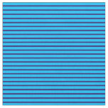 [ Thumbnail: Deep Sky Blue and Midnight Blue Colored Lines Fabric ]