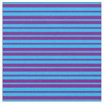 [ Thumbnail: Deep Sky Blue and Purple Pattern Fabric ]