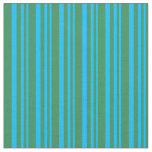 [ Thumbnail: Deep Sky Blue and Sea Green Colored Stripes Fabric ]