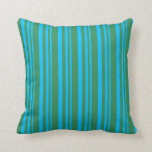 [ Thumbnail: Deep Sky Blue and Sea Green Colored Stripes Pillow ]