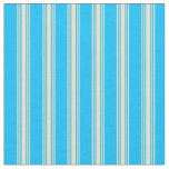 [ Thumbnail: Deep Sky Blue and Tan Lined Pattern Fabric ]